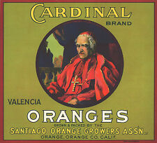 *Original* CARDINAL Roman Catholic Orange Crate Label NOT A COPY!