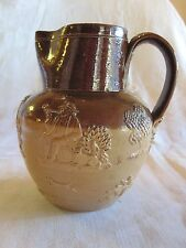 Doulton Lambeth early milk pitcher jug two-tone brown w/scenes & hunting c. 1870