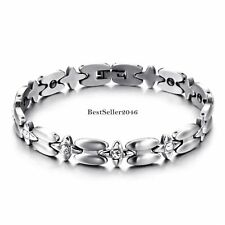 Silver Stainless Steel Link Chain Magnetic Love Bracelet Womens Christmas Gifts