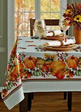 "Thanksgiving Fall Tablecloth Harvest Pumpkin Tablecloth 60""x 84 OBLONG Jacquard"