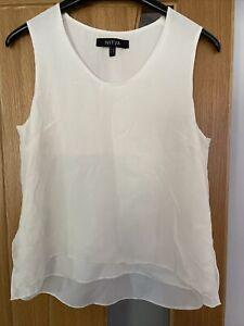 NITYA Ivory/Cream Silk Layered Sleeveless Top. Side Vents. Size 10 Read Descript