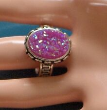 TITANIUM SPARKLE DRUZY 925 SILVER PLATED SIZE 10.5 SWEET LOOK RING