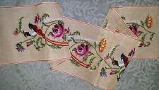 EP 214 Vintage Oriental Birds & Roses Preworked Bell Pull Needlepoint Canvas