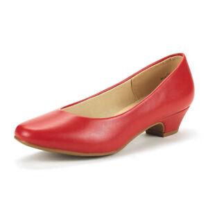 Lady Womens Mila  Low Chunky Heel Dress Pointy Toe Slip on Pumps Shoes Size 5-11