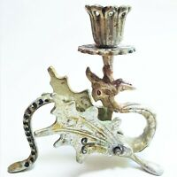 Vintage Dragon Griffin Silver Metal Candle Holder Gothic Medieval Castle Decor