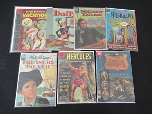 Lot of 7 OLD Dell Comics (10 cents) Daffy, Treasure Island, Moby Dick, Hercules+