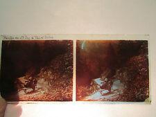ancien plaque verre stereo photo 1930 route ste foy val d'isere attelage 73 10