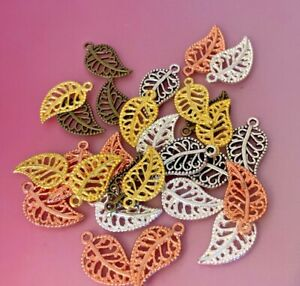 Tibetan Alloy  Filigree Fancy Hollow Cut Out Leaves Leaf Charms 7 colour choices
