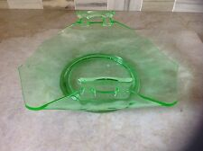Vintage Green depression glass server bowl/tray with handles floral pattern