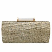 Straw Women Metal Clutches Chain Shoulder Bag Ladies Evening Box Handbags Purses