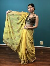Bollywood Party Saree Indian Ethnic Reception Designer Georgette Sari Yellow K6
