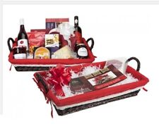 Make Your Own Luxury Hamper Kit Shallow Regtangle Dark Basket Red Lining 739006