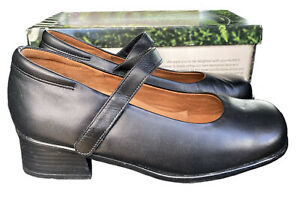 Siera Kumfs Neptune Black Leather Mary Jane Shoes New In Box Size 7