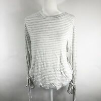 PER SE Womens Large Gray Striped Top Long sleeved with Arm tie detail $59