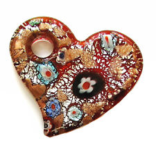 """Red Millefiori Heart Shape Glass Bead Pendant with Hole New 2"""" x 1.75"""""""