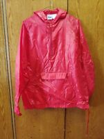 MVP CORP. RED NYLON HOODED WINDBREAKER PULL OVER MED FRONT POCKET