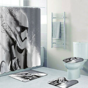 4Pcs Star Wars Bathroom Shower Curtain Toilet Cover Non-Skid Floor Door Mat Rug