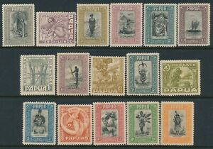 1932 PAPUA PICTORIAL SET OF 16 TO £1 MLH (& SOME MNH)  SG130-SG145