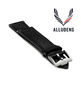 Black Handmade 20mm Perforated Genuine Leather mens watch strap Silver Buckle