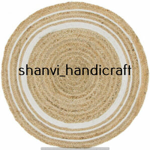 Boho Handmade Round Rug 3 Feet Braided Natural Jute Rug Floor Mat Decor Area Rug