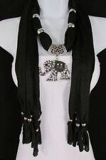 New Women Necklace Fashion Soft Fabric Scarf Long Large Elephant Pendant