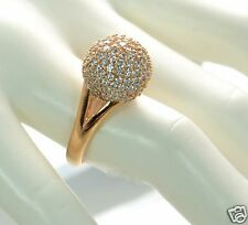 Bronzo Italia Bold Pave' Crystal Domed Bead Ring Size - 10 (Clear)