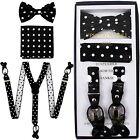 New in box Convertible Elastic Suspender Bowtie  Hankie Black White Dots