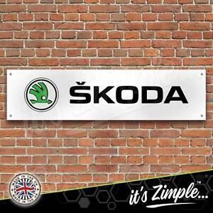 Skoda Cars Logo Green Banner Garage Workshop Sign Printed PVC Trackside Display