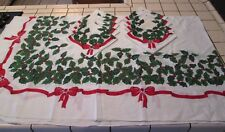 """White CHRISTMAS Printed HOLLY w/Berries Tablecloth OVAL 58"""" X 98"""" & 8 Napkins"""