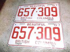 1967 BRITISH COLUMBIA  LICENSE PLATES 657 309