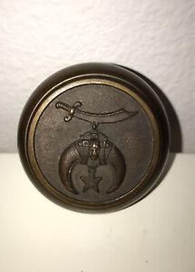 Antique Masonic Mason Door Knob Shriner Bronze