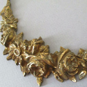 "Antique Gilt BRONZE Brass 6.5"" Applique Mount Ornament SWAG of ROSES + Flowers"