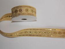 30mm gold  jacquard embroidered ribbon applique motif trimming decor