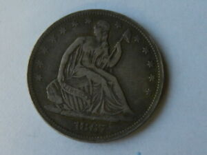 1867 S SEATED LIBERTY SILVER HALF DOLLAR.