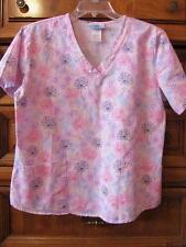 Sb Scrub.Pink with Multi Color Line Drawing Flowers.2 Patch Pockets.Size M