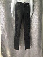 NWT ZARA Dark Gray Distressed Ripped Strech Slim Skinny Jeans Size 6 A80