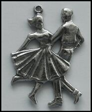 PEWTER CHARM #123 Rock N Roll DANCERS Jive 50's 60's Dancing Couple 23mm x 20mm