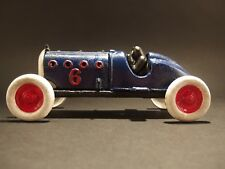 Antique Vintage Style Blue Cast Iron #6 Toy Race Car w Lifting Hood