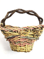 Vintage Primitive Basket  Bark Branch Wicker Woven Colorful UNIQUE SHAPE Medium