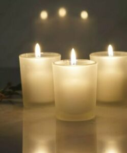Classic Frosted Patent Votive Glass Candle Holder  all 6 boxed