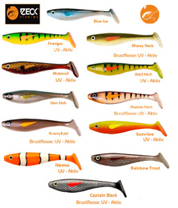 """Zeck Predator Fishing """"Finch"""" 15 / 20 cm Gummifisch,Shad Hecht,Waller,Zander neu"""