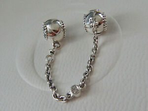 Authentic PANDORA S/Silver EMBOSSED HEARTS Safety Chain. #796457cz