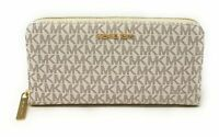 Michael Kors Jet Set Travel XL Zip Around Wallet PVC Leather Signature