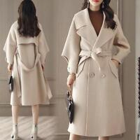 Women Wool Blend Lapel Waist Belt Long Loose Casual Thick Trench Coat Outwear  S