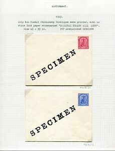 MONTSERRAT POSTAL ENVELOPES 1903 HGB1/2 + SPECIMENS (4)