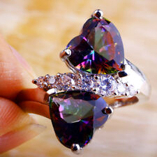 Heart Rainbow & White Topaz Gemstone 925 Silver Ring Size 10 Fashion Jewelry