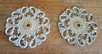 Pair of Vintage Back Plates for Drawer Pull gold brass shabby white paint Japan