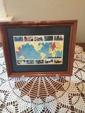 1942 Into the Battle WWII Stamp Sheet Framed for Display (Green Matted)