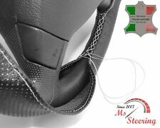 FOR PRAGA ND/SND -BLACK PERF LEATHER STEERING WHEEL COVER LIGHT GREY STITCH