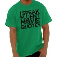 Fluent In Movie Quotes Funny Sarcastic Film Adult Short Sleeve Crewneck Tee